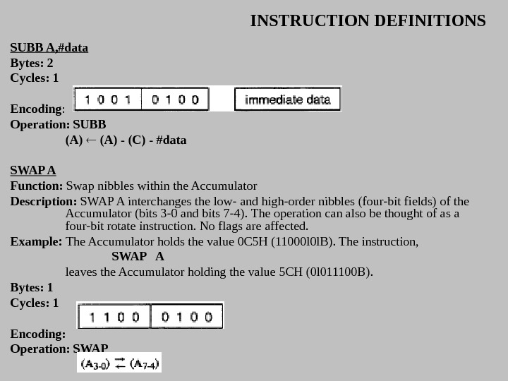 INSTRUCTION DEFINITIONS SUBB A, #data Bytes: 2 Cycles: 1 Encoding :  Operation: SUBB (A) -