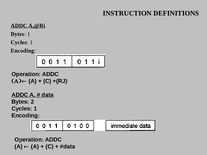 INSTRUCTION DEFINITIONS ADDC A, @Ri Bytes : 1 Cycles : 1 Encoding :  Operation: ADDC