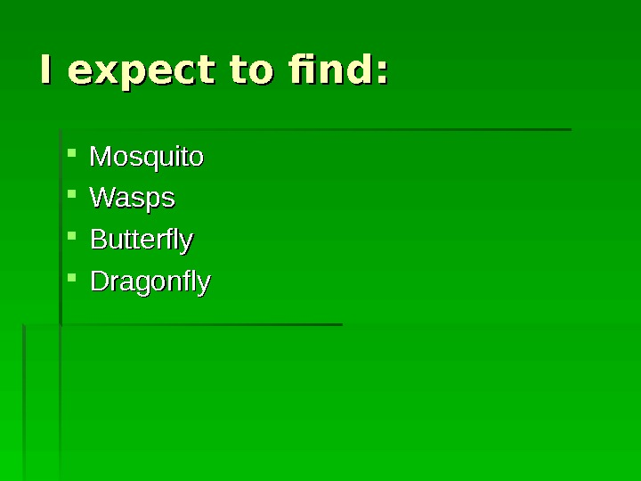 I expect to find : :  Mosquito Wasps Butterfly Dragonfly