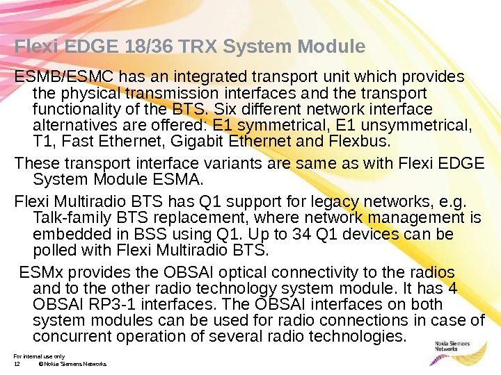 For internal use only 12 © Nokia Siemens Networks. Flexi EDGE 18/36 TRX System Module ESMB/ESMC