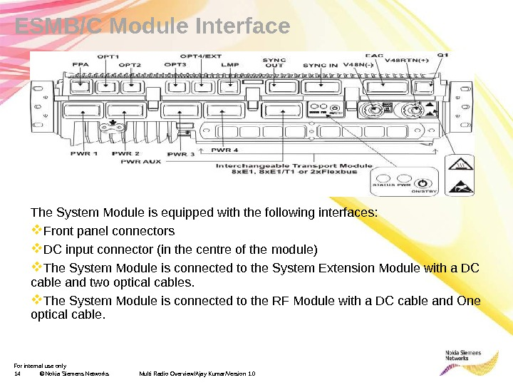 For internal use only 14 © Nokia Siemens Networks Multi Radio Overview/Ajay Kumar/Version 1. 0 ESMB/C