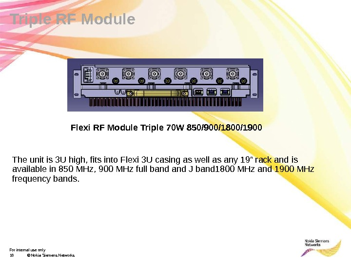 For internal use only 16 © Nokia Siemens Networks. Triple RF Module Flexi RF Module Triple