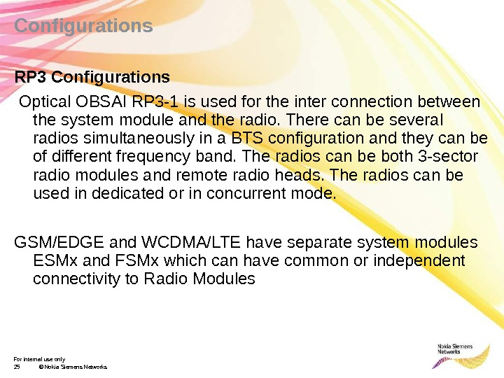 For internal use only 25 © Nokia Siemens Networks. Configurations RP 3 Configurations  Optical OBSAI