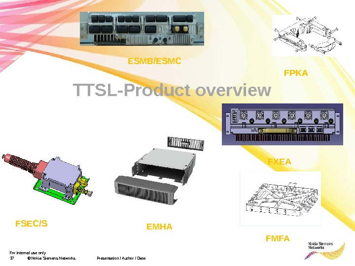 For internal use only 37 © Nokia Siemens Networks Presentation / Author / Date TTSL-Product overview
