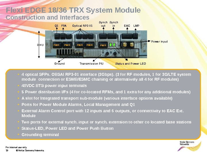 For internal use only 39 © Nokia Siemens Networks. Flexi EDGE 18/36 TRX System Module Construction