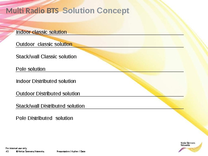 For internal use only 43 © Nokia Siemens Networks. Multi Radio BTS  Solution Concept Presentation