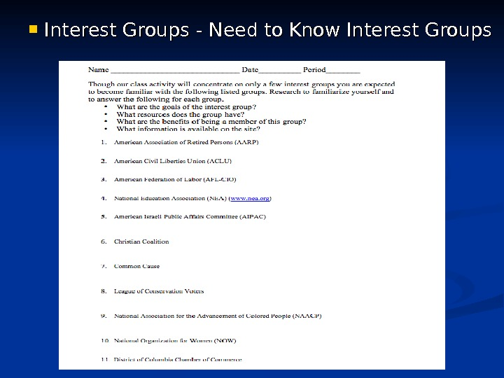 Interest Groups - Need to Know Interest Groups