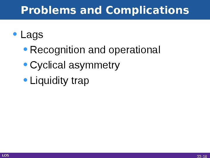 Problems and Complications • Lags • Recognition and operational • Cyclical asymmetry • Liquidity trap LO