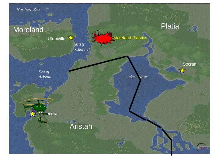 Platia Aristan. Alexendra Socran Lake Critius. Misty Channel Sea of Aristan. Northern Sea Moreland Utopiville Moreland