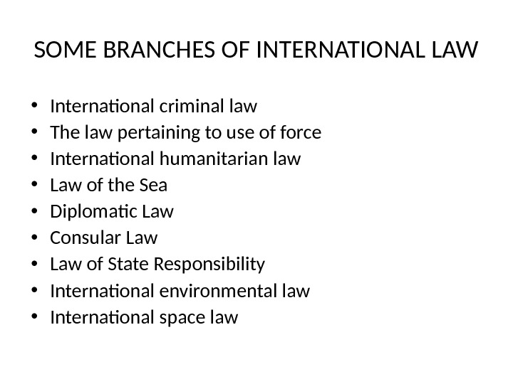 SOME BRANCHES OF INTERNATIONAL LAW • International criminal law • The law pertaining to use of