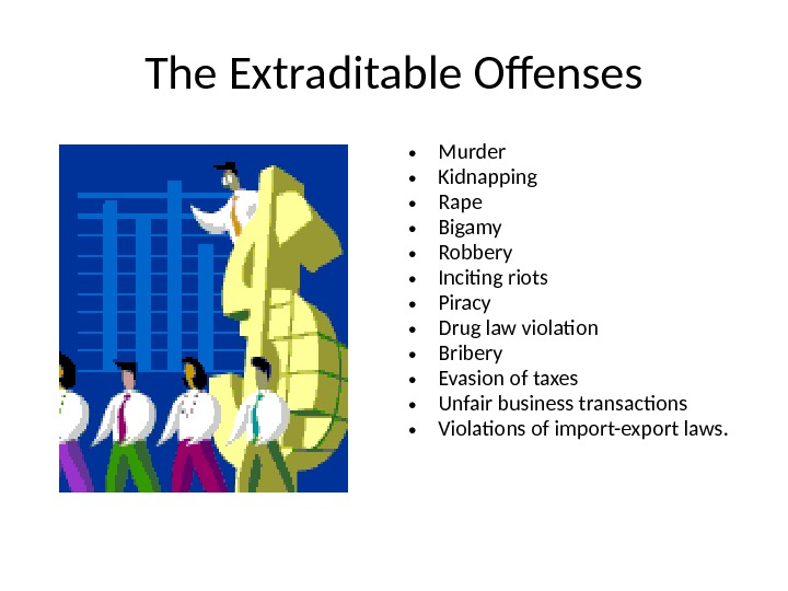 The Extraditable Offenses • Murder • Kidnapping • Rape • Bigamy • Robbery • Inciting riots