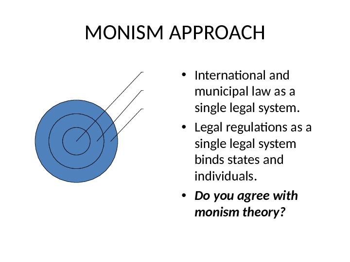 MONISM APPROACH • International and municipal law as a single legal system.  • Legal regulations