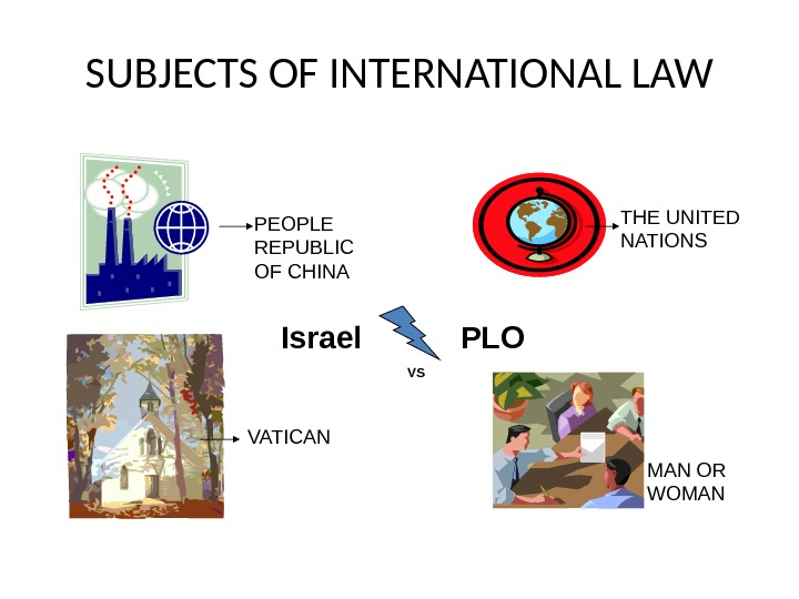 SUBJECTS OF INTERNATIONAL LAW PEOPLE REPUBLIC OF CHINA THE UNITED NATIONS VATICAN MAN OR WOMANIsrael PLO