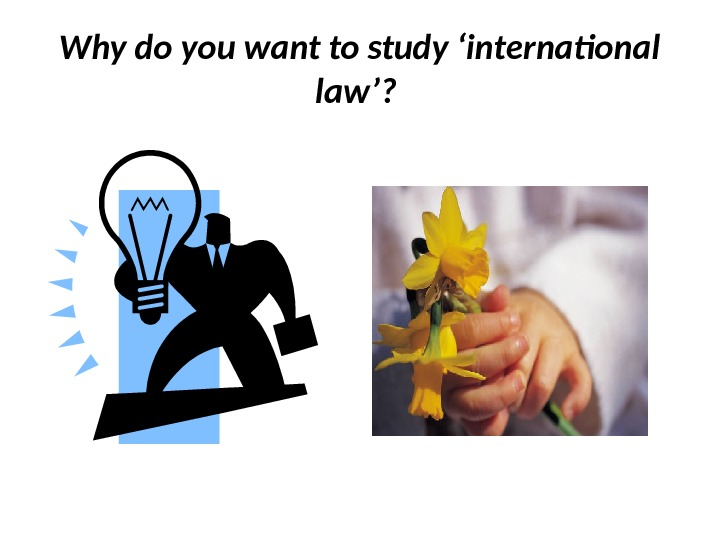 Why do you want to study 'international law'?