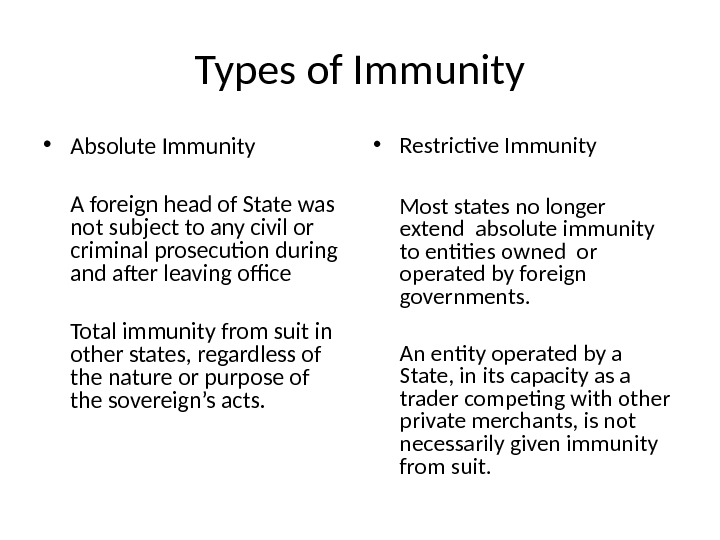 Types of Immunity • Absolute Immunity A foreign head of State was not subject to any