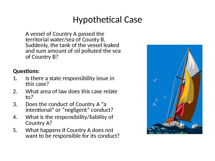 Hypothetical Case A vessel of Country A passed the territorial water/sea of County B.  Suddenly,