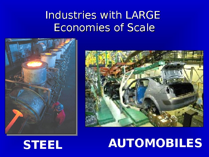 Industries with LARGE Economies of Scale STEEL AUTOMOBILES