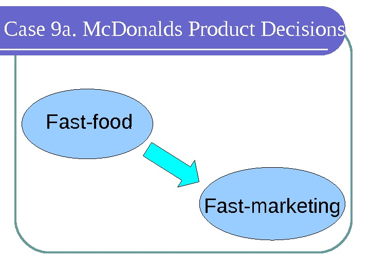 Case 9 a. Mc. Donalds Product Decisions Fast-food Fast-marketing