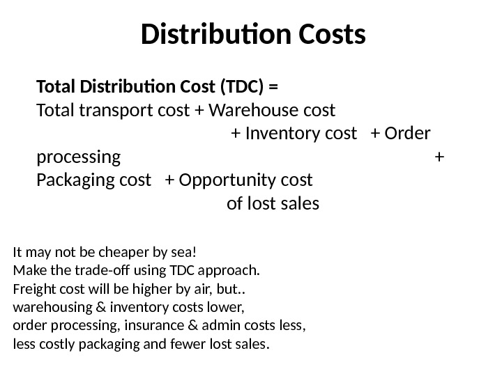 Distribution Costs Total Distribution Cost (TDC) = Total transport cost + Warehouse cost