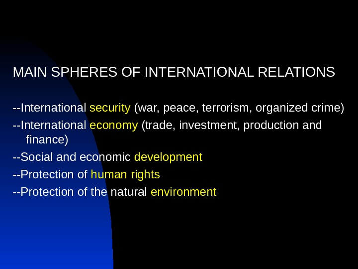 MAIN SPHERES OF INTERNATIONAL RELATIONS --International security (war, peace, terrorism, organized crime) --International economy (trade, investment,