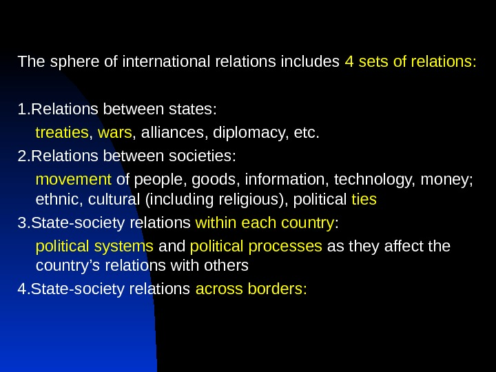 The sphere of international relations includes 4  sets of relations: 1. Relations between states: