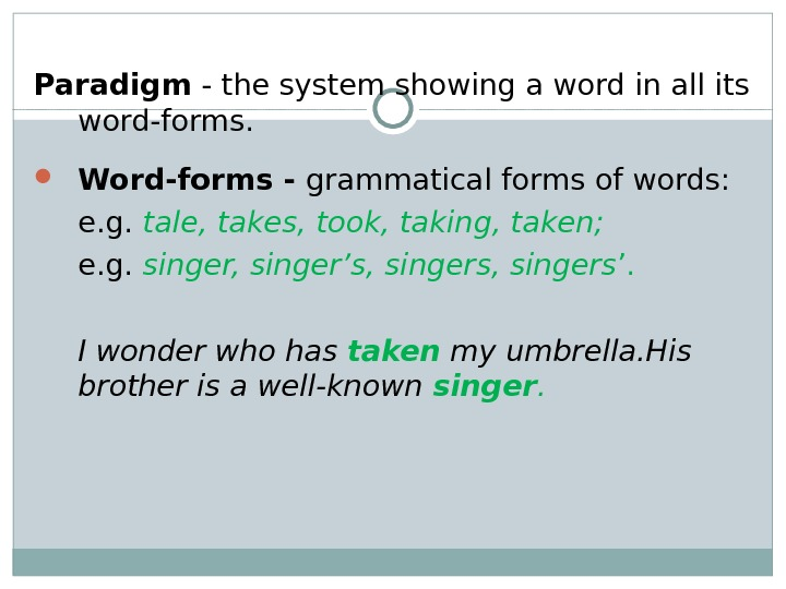 Paradigm - the system showing a word in all its word-forms.  Word-forms - grammatical forms