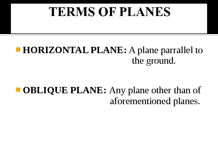 HORIZONTAL PLANE:  A plane parrallel to     the ground.  OBLIQUE