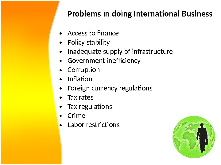 Problems in doing International Business • Access to finance • Policy stability • Inadequate supply of