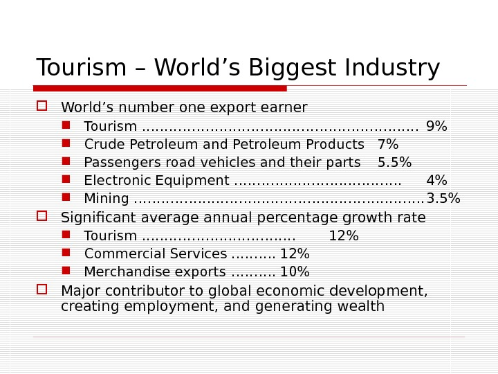 Tourism – World's Biggest Industry World's number one export earner Tourism …………………………. 9 Crude Petroleum and