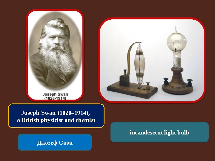 Joseph Swan (1828– 1914),  a British physicist and chemist Джозеф Свон incandescent light bulb