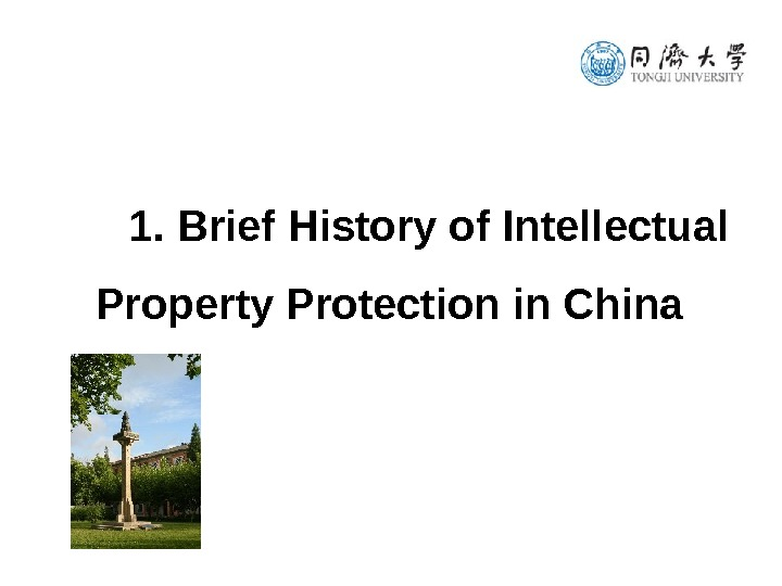 1. Brief History of Intellectual Property Protection in China