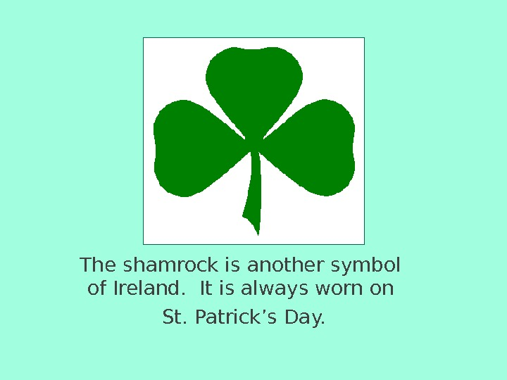 The shamrock is another symbol of Ireland.  It is always worn on  St.