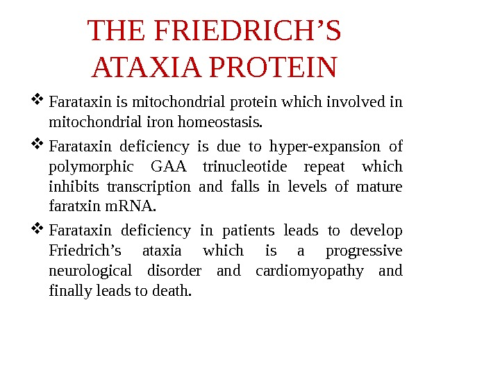 THE FRIEDRICH'S ATAXIA PROTEIN Farataxin is mitochondrial protein which involved in mitochondrial iron homeostasis.  Farataxin