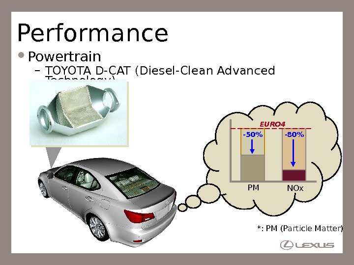Performance Powertrain – TOYOTA D-CAT (Diesel-Clean Advanced Technology) *: PM (Particle Matter)-50 -80 PM NOx. EURO