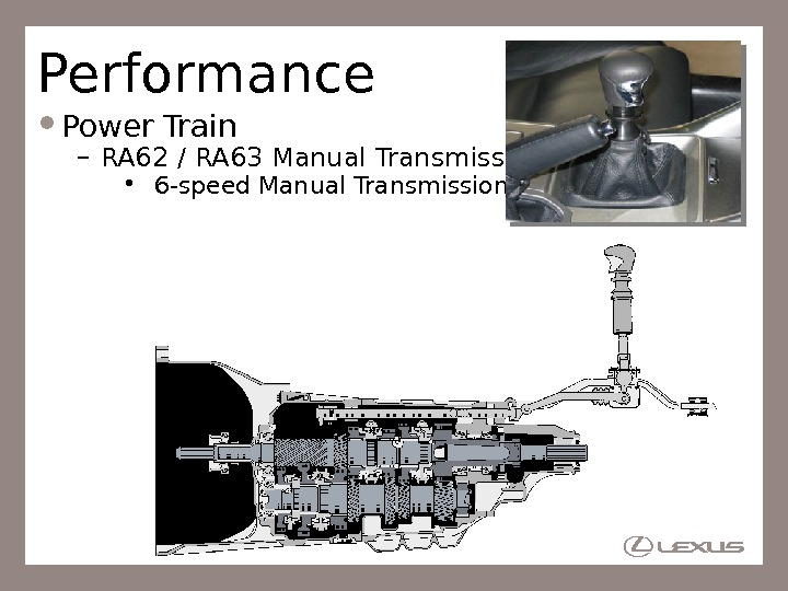 Performance Power Train – RA 62 / RA 63 Manual Transmission •  6 -speed Manual