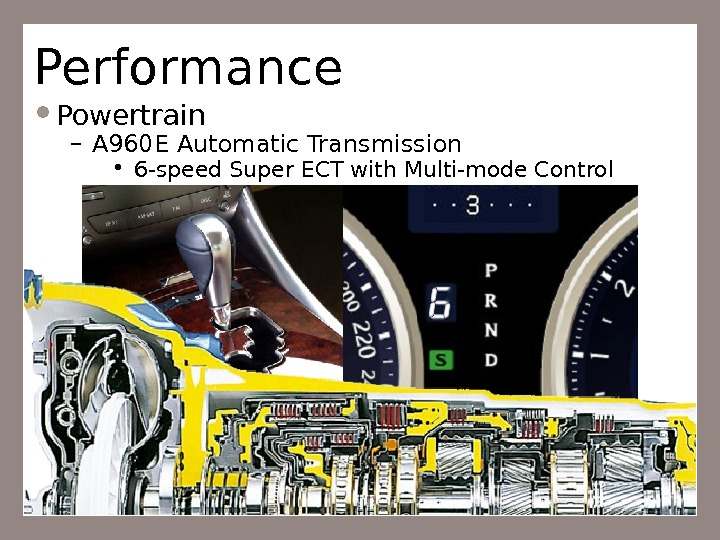 Performance Powertrain – A 960 E Automatic Transmission • 6 -speed Super ECT with Multi-mode Control