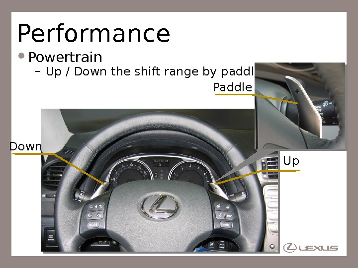 Performance Powertrain – Up / Down the shift range by paddle operation Up. Down Paddle