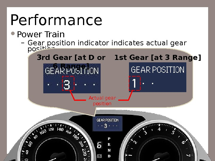Performance Power Train – Gear position indicator indicates actual gear position Actual gear position 3 rd