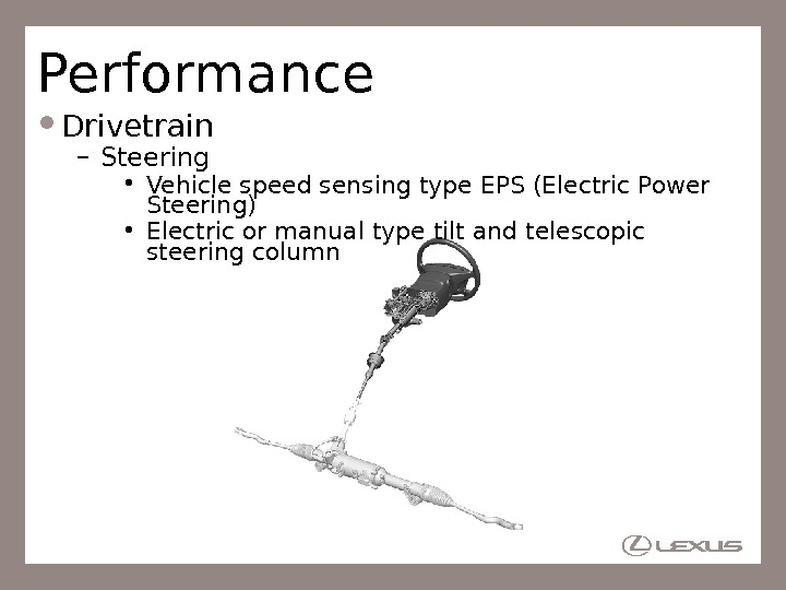 Performance Drivetrain – Steering • Vehicle speed sensing type EPS (Electric Power Steering) • Electric or