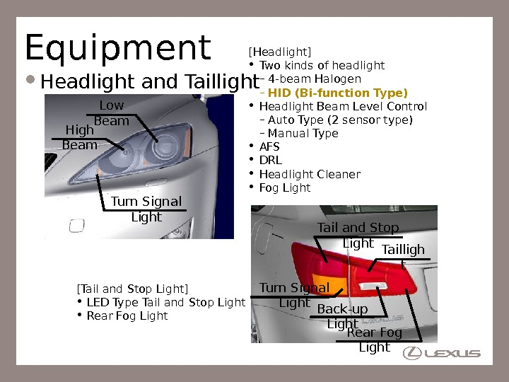 Equipment Headlight and Taillight [Headlight] • Two kinds of headlight – 4 -beam Halogen – HID