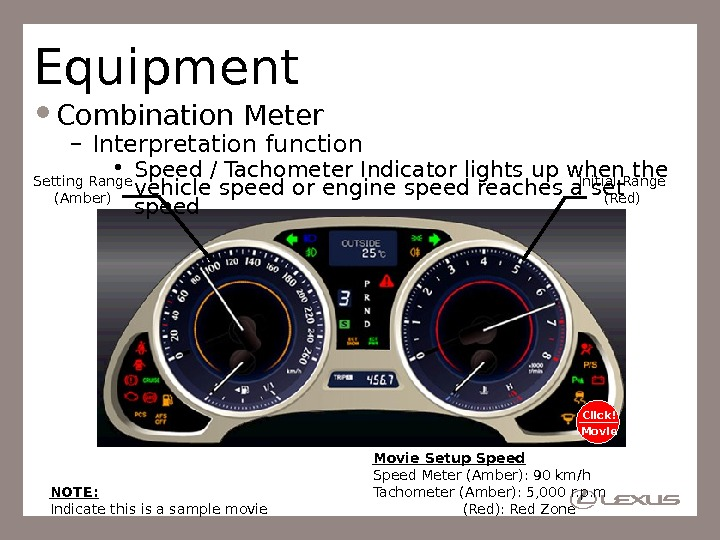 Equipment Combination Meter – Interpretation function • Speed / Tachometer Indicator lights up when the vehicle