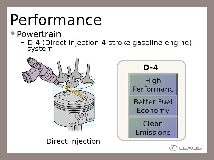 Performance Powertrain – D-4 (Direct injection 4 -stroke gasoline engine) system Direct Injection High Performanc e