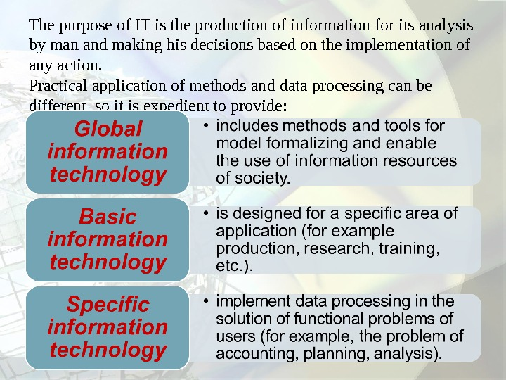 The purpose of IT is the production of information for its analysis by man and making