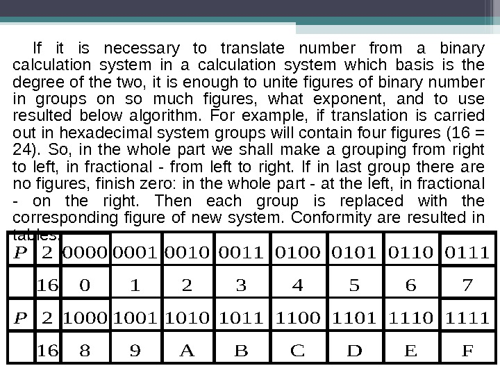 If it is necessary to translate number from a binary calculation system in a calculation system