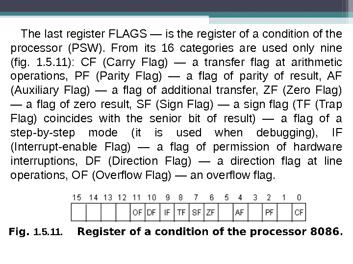 The last register FLAGS — is the register of a condition of the processor (PSW).
