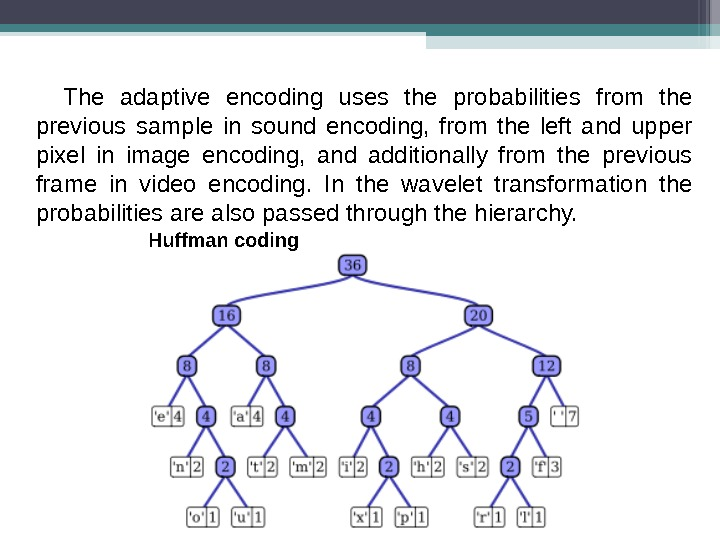 The adaptive encoding uses the probabilities from the previous sample in sound encoding,  from the