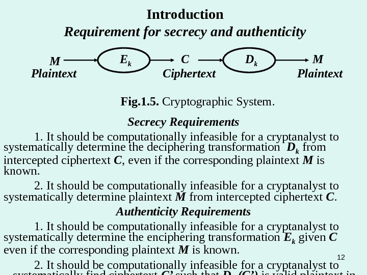Introduction Requirement for secrecy and authenticity Secrecy Requirements 1. It should be computationally infeasible for a