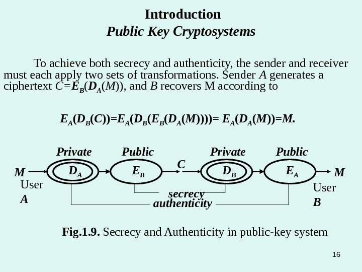 To achieve both secrecy and authenticity, the sender and receiver must each apply two sets of