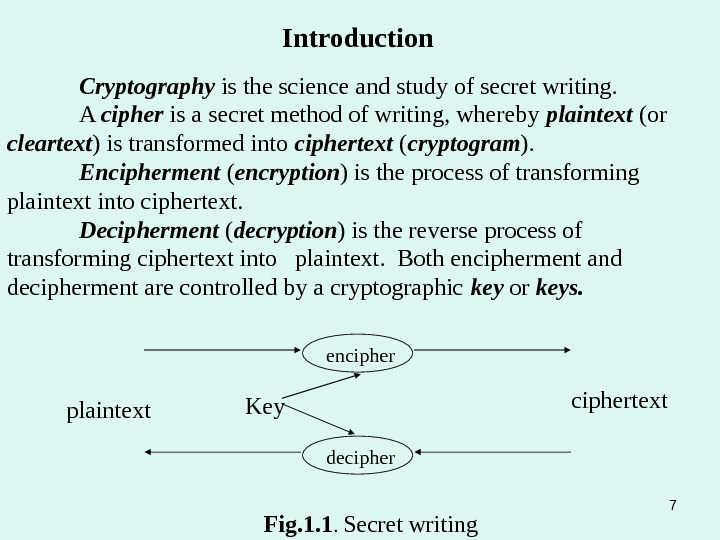 Cryptography is the science and study of secret writing. A cipher is a secret method of