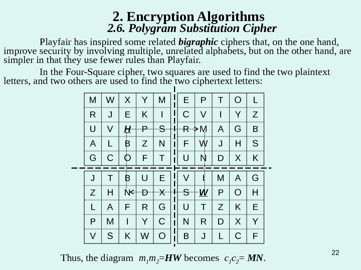 22 Playfair has inspired some related bigraphic ciphers that, on the one hand,  improve security